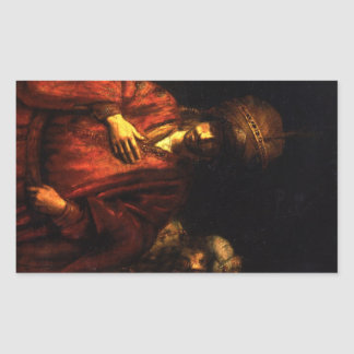Haman in disgrace by Rembrandt Rectangular Sticker
