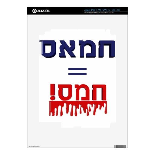 ¡Hamás significa violencia! iPad 3 Pegatina Skin