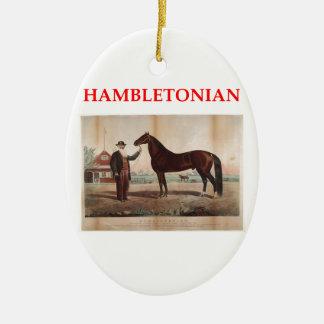hambletonian adorno navideño ovalado de cerámica