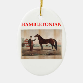 hambletonian Double-Sided oval ceramic christmas ornament