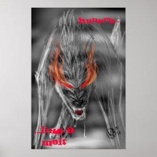 Hambriento como un lobo póster