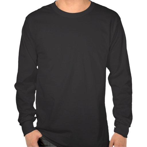 Hambriento para la manga larga del negro del mono camiseta