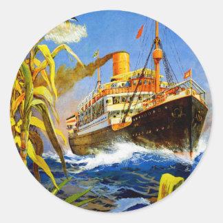Hamburg America to South America Classic Round Sticker