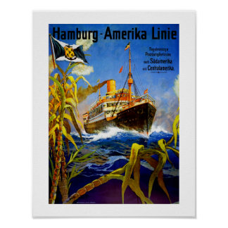 Hamburg America to South America Poster