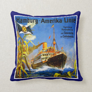 Hamburg America to South America Throw Pillows