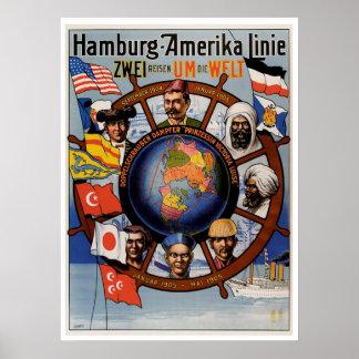 Hamburg Amerika Line Vintage Ship Advertisement Poster