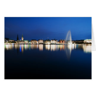 Hamburg Binnenalster at night Card