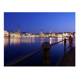 Hamburg Binnenalster blue hour of postcard