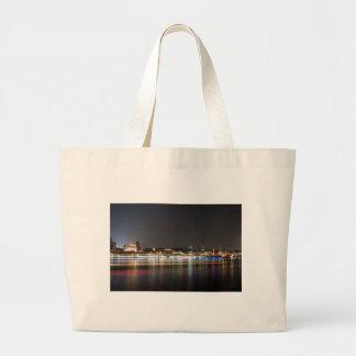Hamburg Harbor at Night Tote Bags
