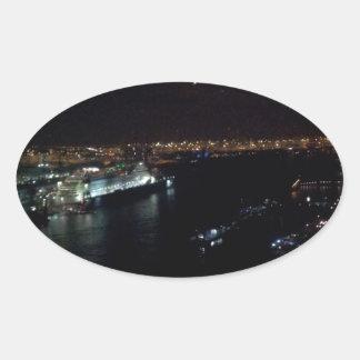 Hamburg Harbor at Night Oval Sticker