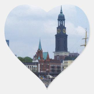 Hamburg Harbor Hafen Michel Deutschland Schiffe Heart Sticker