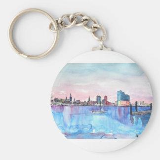 Hamburg Harbour Skyline And Elbe Philharmonic Hall Keychain