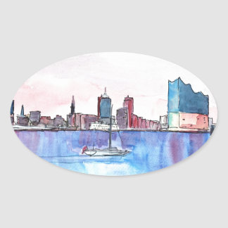 Hamburg Harbour Skyline And Elbe Philharmonic Hall Oval Sticker