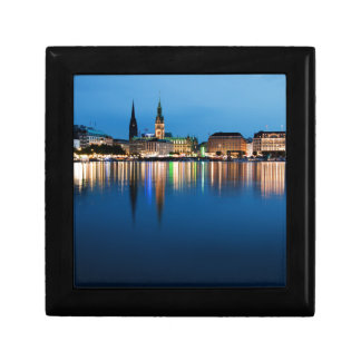 Hamburg Lake Binnenalster at Night Jewelry Box