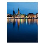 Hamburg Lake Binnenalster at Night Postcard
