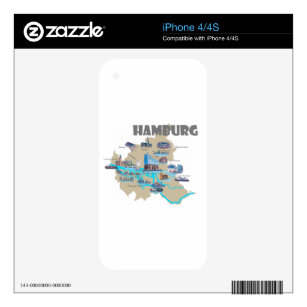 Hamburg Map Overview Decal For iPhone 4