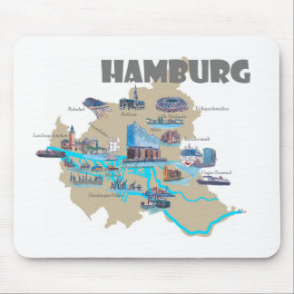 Hamburg Map Overview Mouse Pad