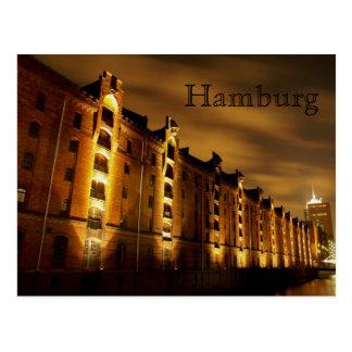 Hamburg - memory city at night - postcard