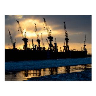 Hamburg port sunset - Hamburg Postcard