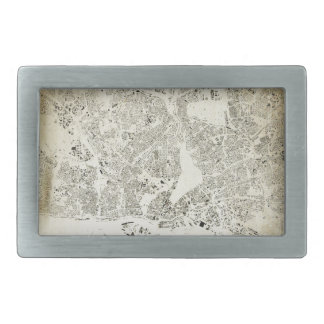 Hamburg Streets and Buildings Map Antic Vintage Rectangular Belt Buckle