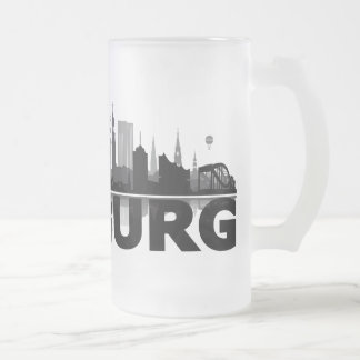 Hamburg town center of skyline cup/cups frosted glass beer mug