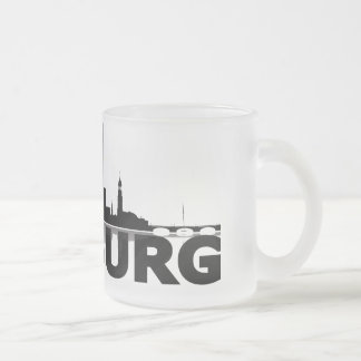 Hamburg town center of skyline cup/cups frosted glass coffee mug