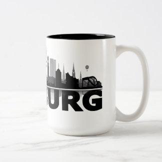 Hamburg town center of skyline cup/cups Two-Tone coffee mug