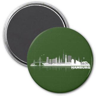 Hamburg town center of skyline magnet/refrigerator 3 inch round magnet