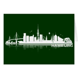 Hamburg town center of skyline map /Klappkarte/Ein Greeting Card