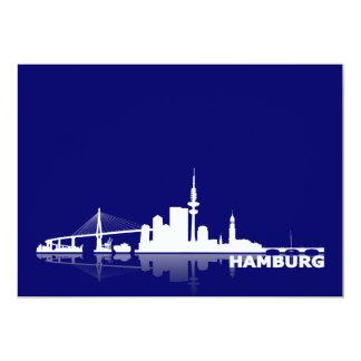 Hamburg town center of skyline map /Klappkarte/Ein 5x7 Paper Invitation Card
