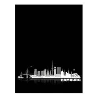 Hamburg town center of skyline postcard