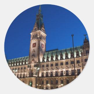 Hamburg Town Hall Classic Round Sticker