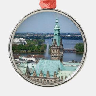 Hamburg Townhall Metal Ornament