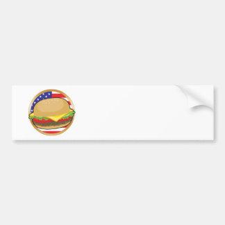 Hamburger American Flag Car Bumper Sticker