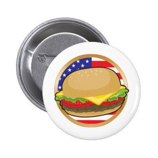Hamburger American Flag Button
