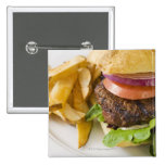 Hamburger and French Fries 2 Inch Square Button
