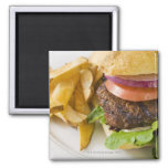Hamburger and French Fries 2 Inch Square Magnet