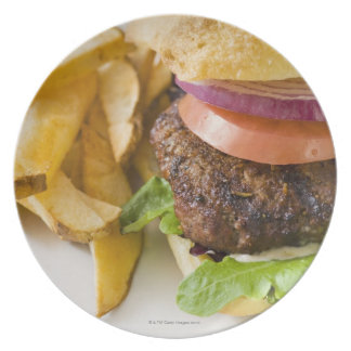 Hamburger and French Fries Melamine Plate