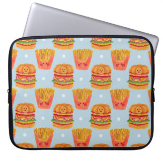 Hamburger and French Fries Pattern Printed on Laptop Sleeve Illustration by Haidi Shabrina