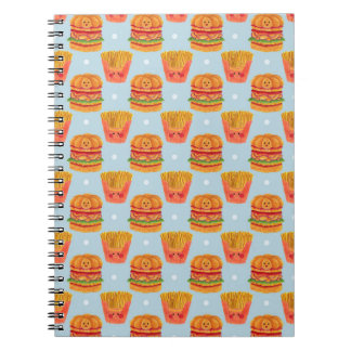 Hamburger and French Fries Pattern Printed on Notebook Illustration by Haidi Shabrina