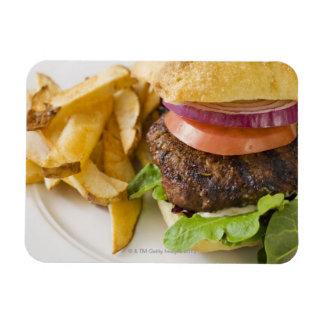 Hamburger and French Fries Rectangular Photo Magnet