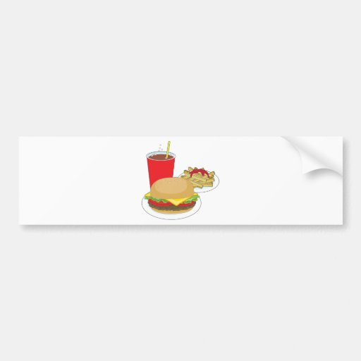 Hamburger and Fries Bumper Sticker