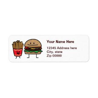 Hamburger and Fries Custom Return Address Labels