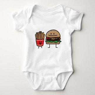 Hamburger and Fries fast food bun junk food Baby Bodysuit
