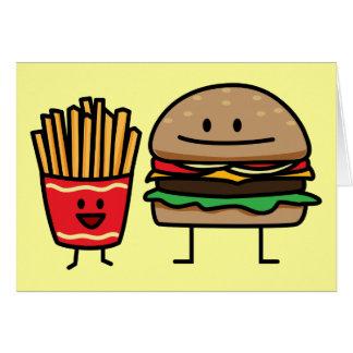 Hamburger and Fries fast food bun junk food Card