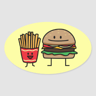 Hamburger and Fries fast food bun junk food Oval Sticker