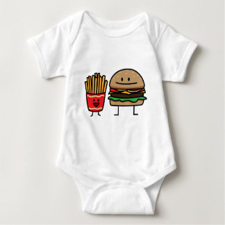 Hamburger and Fries fast food bun junk fried hot Baby Bodysuit