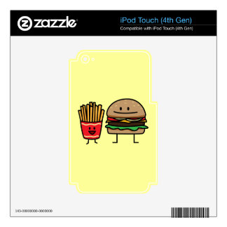 Hamburger and Fries fast food bun junk fried hot iPod Touch 4G Decal