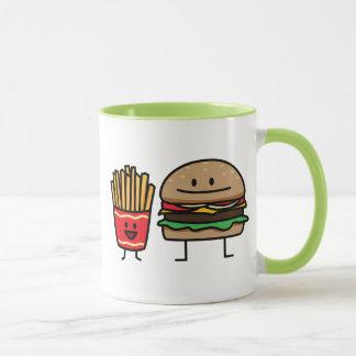 Hamburger and Fries fast food bun junk fried hot Mug