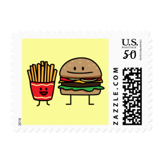 Hamburger and Fries fast food bun junk fried hot Postage